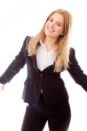 three persons only: Businesswoman standing with arms outstretched