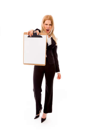 office physical pressure paper: Frustrated businesswoman showing a blank clipboard
