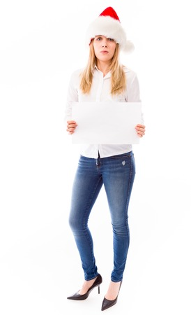 public celebratory event: Young woman showing a blank placard Stock Photo