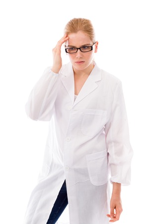 Female scientist looking worried photo