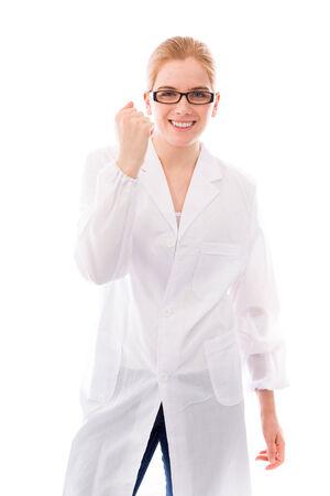 Female scientist celebrating success