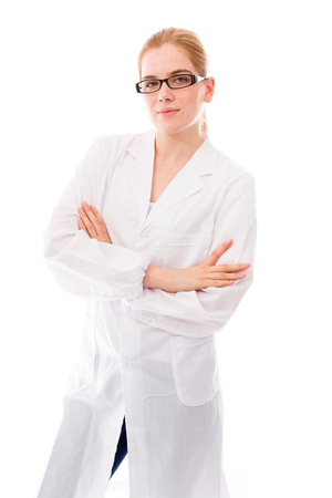 certitude: Female scientist standing with her arms crossed