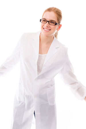 Female scientist smiling photo