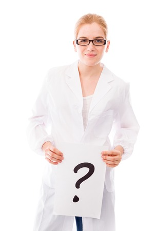 Female scientist showing question mark on white background