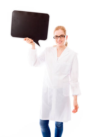 Female scientist holding a blank speech bubble photo