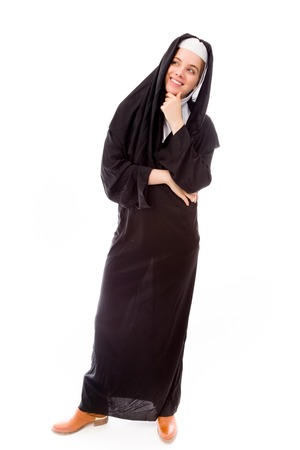 religious habit: Young woman thinking with her hand on chin