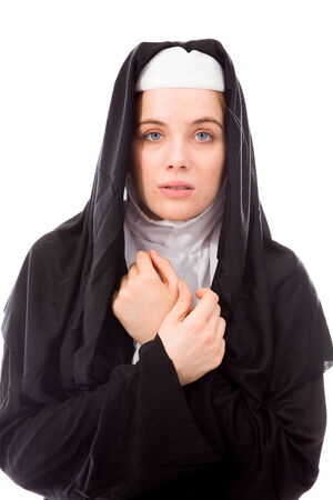 shivering: Young nun shivering