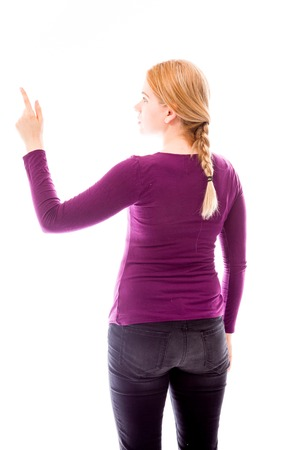 Rear view of a young woman using imagery virtual screen photo