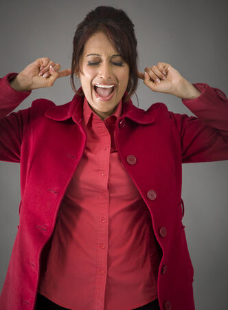 Indian young woman shouting in frustration photo