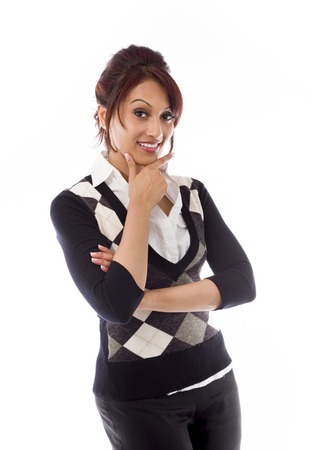 Indian businesswoman showing smiley face photo