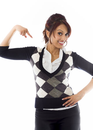 Indian businesswoman pointing at herself isolated over white background photo