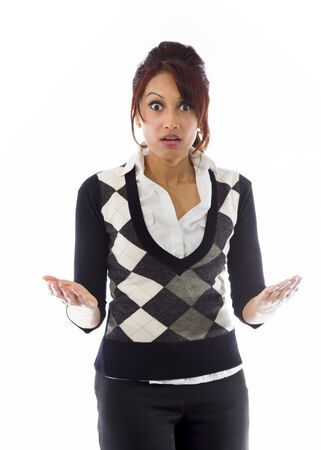 Indian businesswoman looking shocked photo