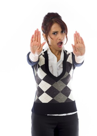 Indian businesswoman making stop gesture and showing stop photo