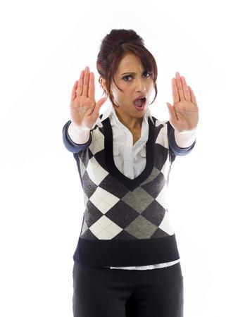 Indian businesswoman making stop gesture and showing stop Standard-Bild