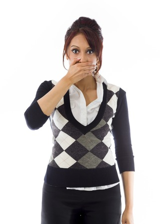 Indian businesswoman with hand over her mouth