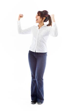 Indian young woman celebrating success photo