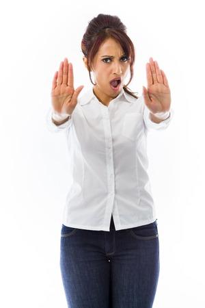 Indische junge Frau, die Stop Geste und zeigt Stopp Standard-Bild - 29482034