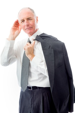 Businessman trying to listen isolated on white background