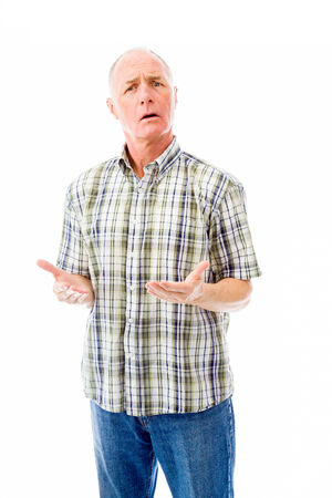 old man: Senior man shrugging with raised hands Stock Photo