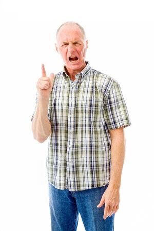 man scolding: Upset senior man scolding somebody