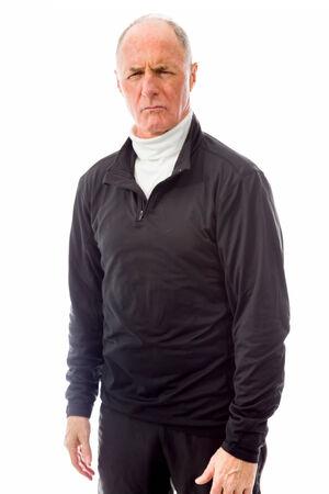 Senior man looking worried Stock Photo
