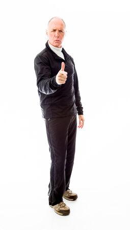 man scolding: Senior man scolding somebody Stock Photo