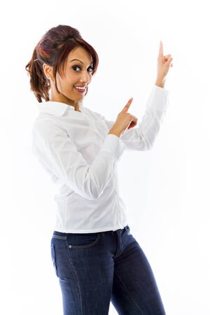 endorsing: Indian young woman pointing with both hands Stock Photo