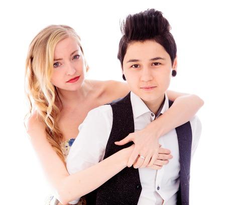 lesbian couple: Lesbian couple embracing