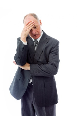 Zakenman die lijden aan hoofdpijn