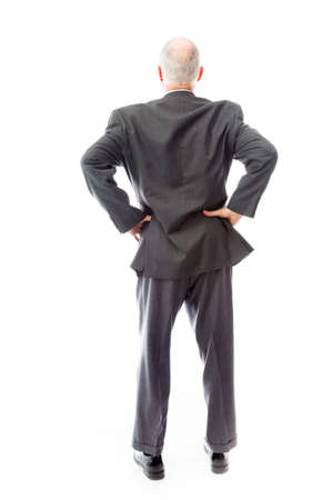 arms akimbo: Rear view of a businessman standing with his arms akimbo