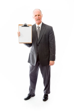 Businessman showing a clipboard photo