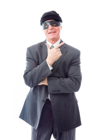 Businessman wearing eye mask and smiling photo