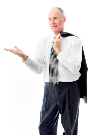 Businessman showing product with open hand palm photo