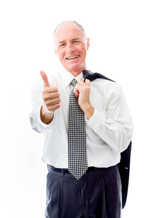 Businessman showing thumbs up gesture photo