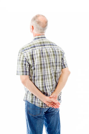 man rear view: Rear view of a senior man thinking
