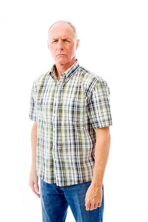 Senior man looking worried photo