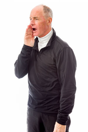 Senior man whispering photo