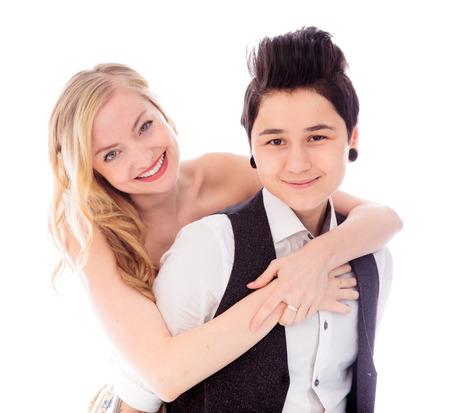 Lesbian couple embracing