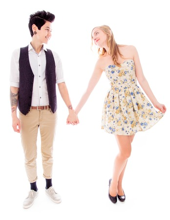 Lesbian couple standing together photo
