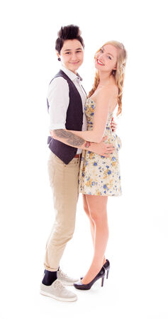 Lesbian couple romancing photo
