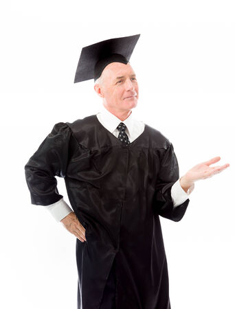 Senior male graduate representing something isolate on white background photo