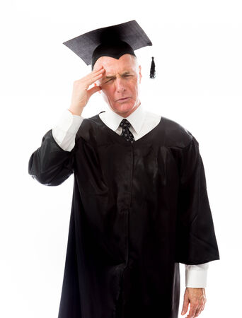Stressed Senior male graduate photo