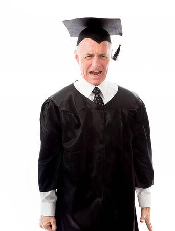 Frustrated senior male graduate screaming photo