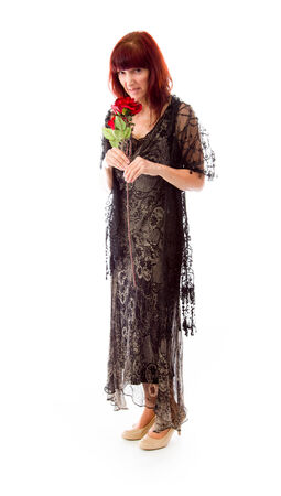 the stinking: Mature woman bad smelling red rose isolated on a white background
