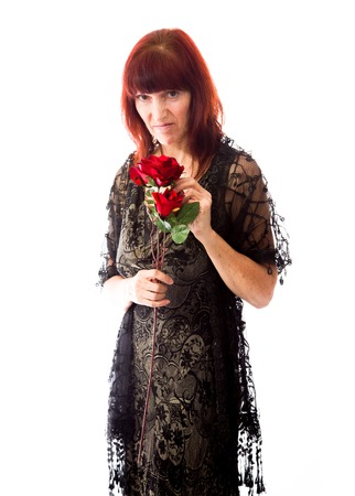 Mature woman rejected flower photo