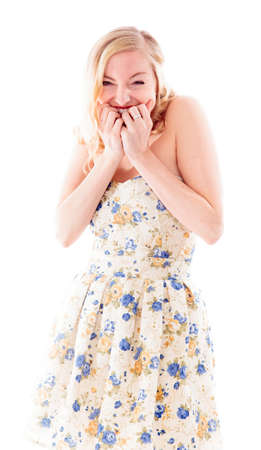 off shoulder: Beautiful young woman biting fingernails Stock Photo
