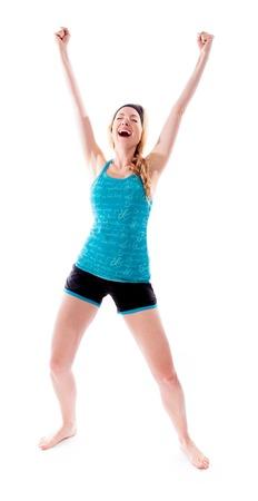 Young woman celebrating success photo