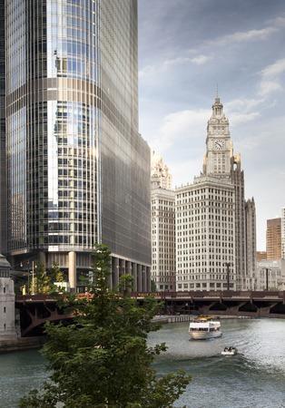 Skyscraper at waterfront, La Salle Street Bridge, Wrigley Building, Chicago River, Chicago, Cook County, Illinois, USA 2011-10-11 4:54:14 PM