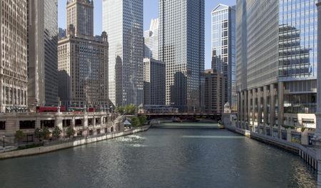 Skyscraper at waterfront, La Salle Street Bridge, Chicago River, Chicago, Cook County, Illinois, USA 2011-10-14 10:34:31 AM