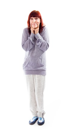 Mature woman showing smiley face photo